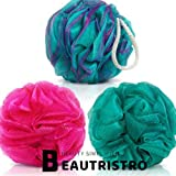 BEAUTRISTRO Round Scrub Bath Sponge Loofah for Men and Women (Random Colour) -Set of 3