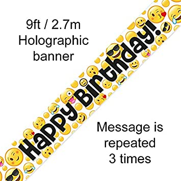 Oak Tree Emoji Happy Birthday Banner 9FT Amazonde Spielzeug