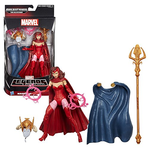 """Hasbro Year 2015 Marvel Legends Infinite Series Build a Figure """"The Allfather"""" Series 6 Inch Tall Action Figure - MAIDENS OF MIGHT SCARLET WITCH with 2 Energy Flame Rings Plus The Allfather's Head, Cape and Trident Staff"""