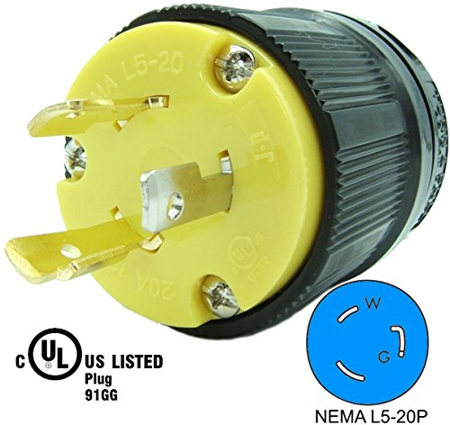 Journeyman-Pro 2311 20 Amp, 125 Volt, NEMA L5-20P, 2P, 3W, Locking Male Plug Connector, Black Industrial Grade, Grounding 2500 Watts Generator Rating (L5-20P Male Plug) -