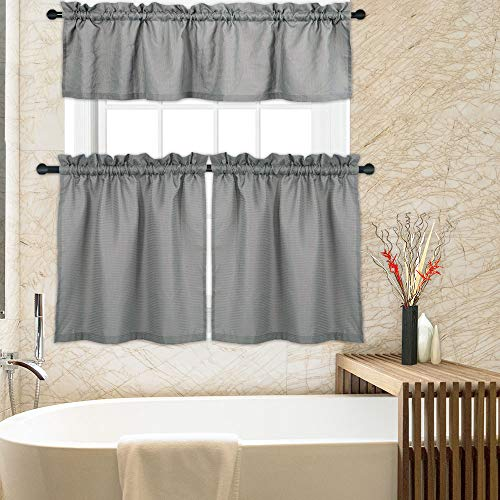 CAROMIO Grey Kitchen Curtains, 3 Pc. Waffle Woven Texutred Rod Pocket 24 Inch Tier Curtains and Valance Set Bathroom Window Curtains Kitchen Cafe Curtains, - Curtain Inch 24 Tier