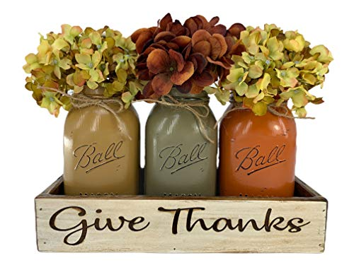 Fall GIVE THANKS Personalized Name CUSTOM Tray ENGRAVED Wood Mason Canning Pint Quart JARS & Florals Optional…