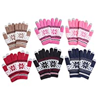 Veenajo Women Lady Winter Warm Soft Knitted Wool Snowflake Snow Gloves Xmas Gift