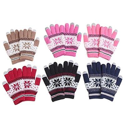 Veenajo Women Lady Winter Warm Soft Knitted Wool Snowflake Snow Gloves Xmas Gift