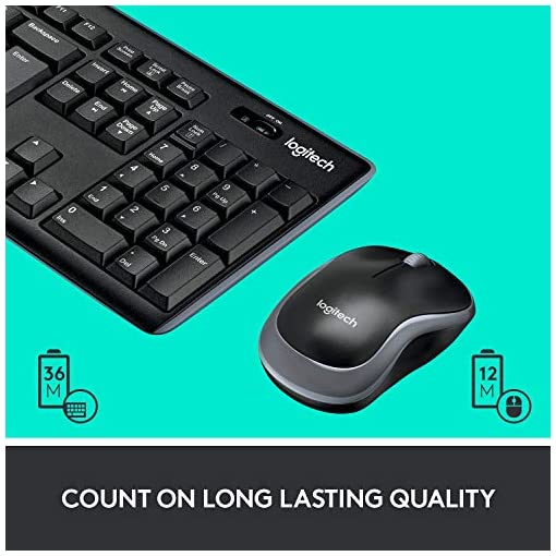 Logitech MK270 Wireless Keyboard and Mouse Combo for Windows, 2.4 GHz Wireless, Compact Wireless Mouse, 8 Multimedia & Shortcut Keys, 2-Year Battery Life, PC/Laptop, QWERTY UK Layout – Black