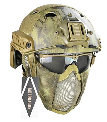 Jadedragon PJ Tactical Fast Helmet & Protect Ear Foldable Double Straps Half Face Mesh Mask & Goggle (MA)