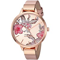 Women's Quartz Metal and Polyurethane Dress Watch, Color:Pink (Model: NW/2044RGPK)