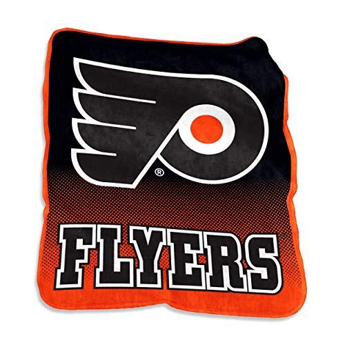 (NHL Philadelphia Flyers Plush Raschel Throw with Large Logo Blanket, Multicolor, 50