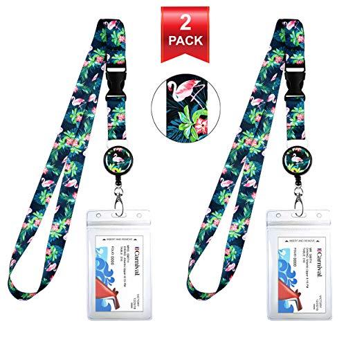 Tropical Pink Flamingo Cruise Lanyard & Waterproof ID Key Card Holder Clip. Matching Retractable Badge Reel. Bonus Travel Organizer Bag. Essential Cruise Ship Accessories. -