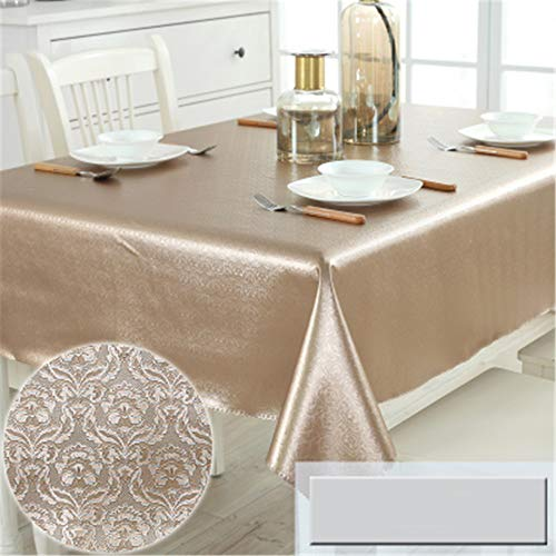 wrgfhb Waterproof, oilproof, Anti-scalding, Disposable Tablecloth, Modern pu Leather, Round Table Cloth, Square Table, Coffee Table, mat Golden Crochet Flower 90x150cm