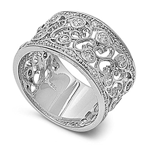Sterling Silver Women's Clear CZ Vintage Ring Cute 925 Band New 12mm Size 6