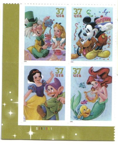 ART OF DISNEY: CELEBRATION ~ MICKEY MOUSE & PLUTO ~ ALICE & THE MAD HATTER ~ ARIEL & FLOUNDER ~ SNOW WHITE & DOPEY #3915a Plate Block of 4 x - Snow Postage