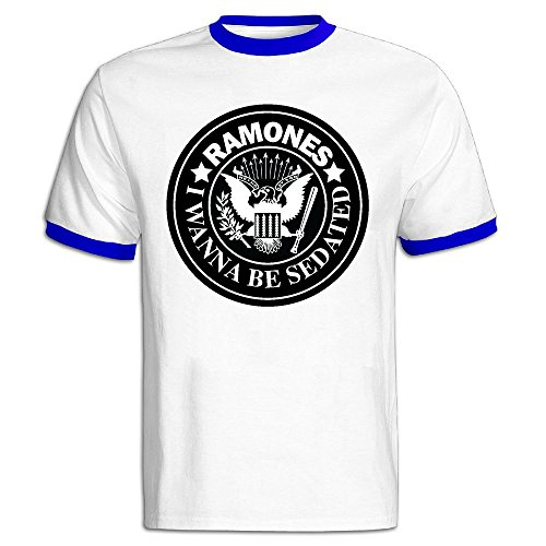 QTHOO Men's O Neck Ramones I Wanna Be
