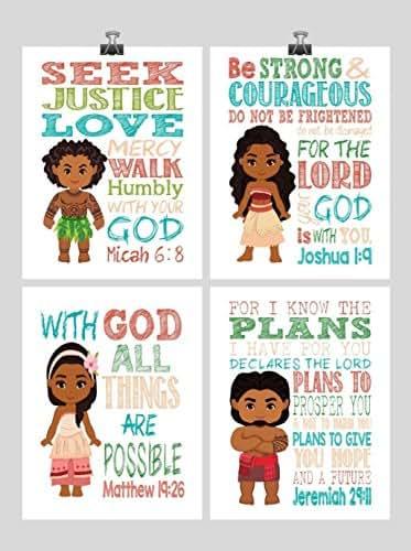 Amazon.com: Moana Christian Nursery Decor Wall Art Set Of