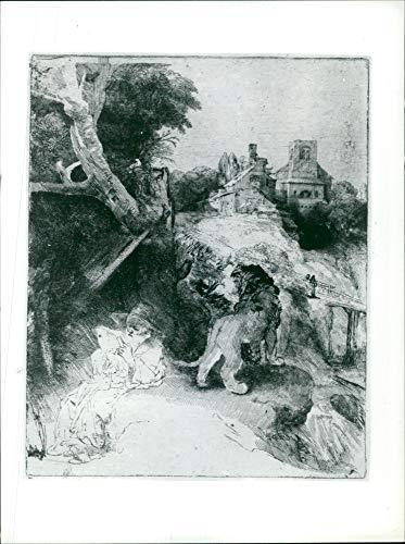 (Vintage photo of Works By Rembrandt Harmensz van Rijn: St Jerome in an Italian Landscape.)