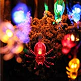 Business Empire Halloween Spider String Light 10 LEDs 4ft Battery Powered for Indoor Halloween Parties & Home Decorations (Colorful Spider)