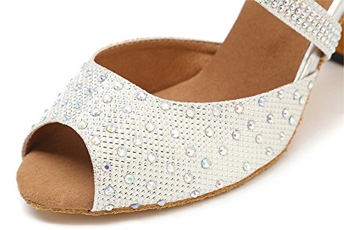 Women's 8 Latin Rhinestone Shoes Glitter Mary Party Shoes Dance Jean B M Honeystore Dance Shoes White US RwqpnOWRd