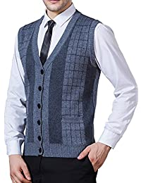 Men's Business V-Neck Assorted Color Knitwear Vest Cardigan Sweater