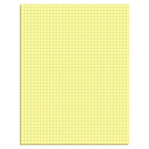 TOPS Quadrille Pad, Gum-Top, 8-1/2 x 11 Inches, Quad Rule (4 x 4), Canary Paper, 50 Sheets per Pad, 12 Pads per Pack (3313) (Gums Gum 12)