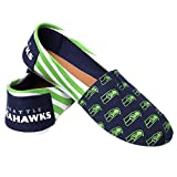 Forever Collectibles Seattle Seahawks Women's NFL Slip On Canvas Stripe Shoe Slippers
