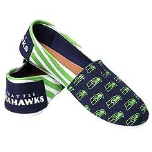 NFL Seattle Seahawks Women's Canvas Stripe Shoes, Medium (7-8), Green