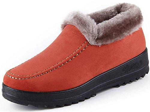 Labato Style Womens Winter Short Snow Boots Warm Slip-on Walking Shoes Fur Lined Footwear Orange