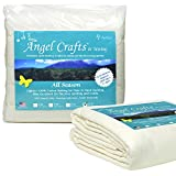 PREMIUM 100% NATURAL Cotton Batting for Quilts - Queen Size (108'' x 96'') - BEST All Season Low Loft Fabric Roll for Upholstery, Quilting, Applique, Pillows by Angel Crafts & Sewing