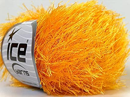 Canary Yellow Eyelash Yarn 50 Gram Ice 22756