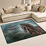XiangHeFu Area Rugs Doormats Horse Oil Painting Soft Carpet Mat 6'x4' (72x48 Inches) for Living Dining Dorm Room Bedroom Home Decorative