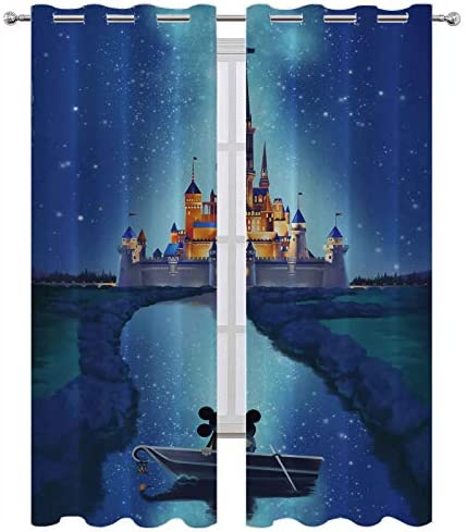 SSKJTC Kitchen Window Curtains Mickey Mouse Castle Small River Stars Energy Efficient Grommet Curtain Panel W84 x L84 Inch