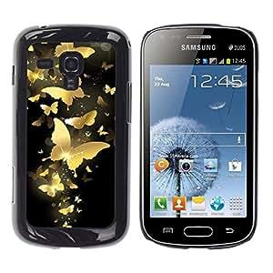 Be Good Phone Accessory // Dura Cáscara cubierta Protectora Caso Carcasa Funda de Protección para Samsung Galaxy S Duos S7562 // Gold Butterfly Bling Black Paint Money