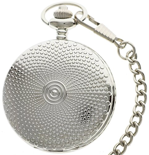 New Brand Mall Vintage Silver Stainless Steel Quartz Pocket Watch Chain (Watch Steel Stainless Pocket Silver)