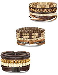 "<span class=""a-offscreen"">[Sponsored]</span>Soft Brown Leather Bracelet for Men Braided Wood Bead Bracelets Set Adjustable Rope 12pcs"