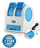 Raptas Mini Fan & Portable Dual Bladeless Small Air Conditioner Water Air Cooler Powered By Usb & Battery Use Of Car/Home/Office (One Year Warranty)