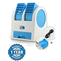 Raptas Mini Fan & Portable Dual Bladeless Small Water Air Cooler Powered by USB & Battery