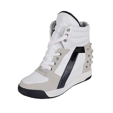 8eb8172a8df5d9 Femmes Mode Chaussures, Respirant Casual Outdoor Sneakers Femme Talon  Compensé Plateforme Baskets à Lacets Chaussures