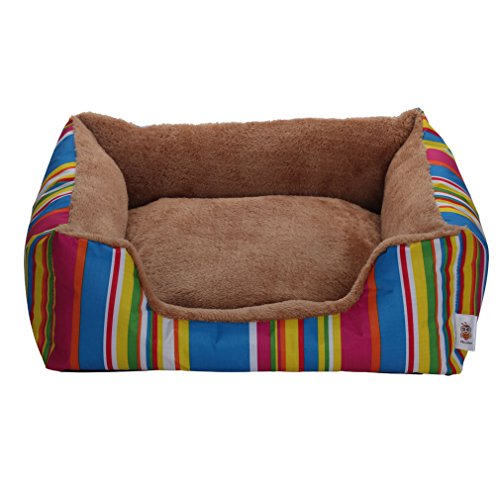 Nunubee Canvas Square Dog Kennel Pet Nest Cat Pad Waterloo Colourful Size M-22x18x7.6 Inch