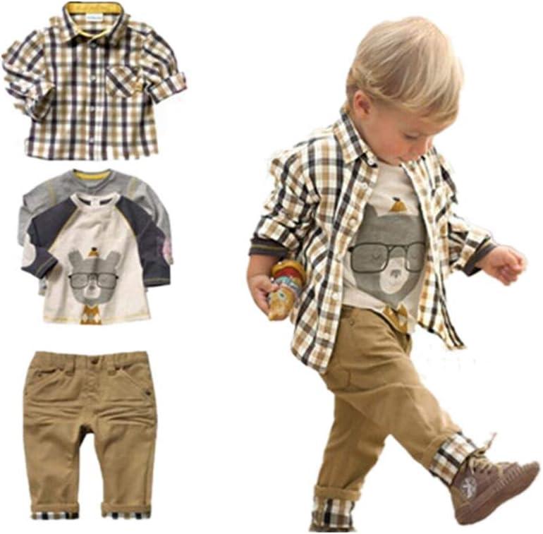 Conjunto de 3 piezas, camiseta, camisa a cuadros y pantalones color kaki, para niños de entre 1 y 5 años, marca Sopo Marrón marrón 1-2 años: Amazon.es: Ropa y accesorios