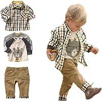 Conjunto de 3 piezas, camiseta, camisa a cuadros y pantalones color kaki, para niños de entre 1 y 5 años, marca Sopo…