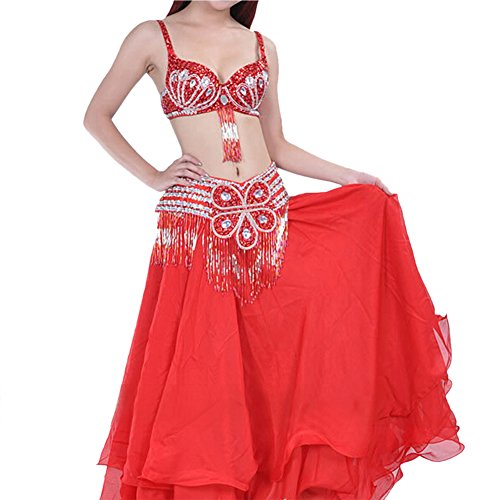 [BellyLady Belly Dance Professional Costume Set, Tribal Floral Bra and Belt RED] (Belly Dance Costumes Bra)