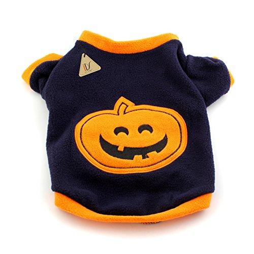 IDS Home Dog Cat Halloween Pumpkin Costume with Fleece Warm Cltoth for Pet Fancy Dress Apparel, XS