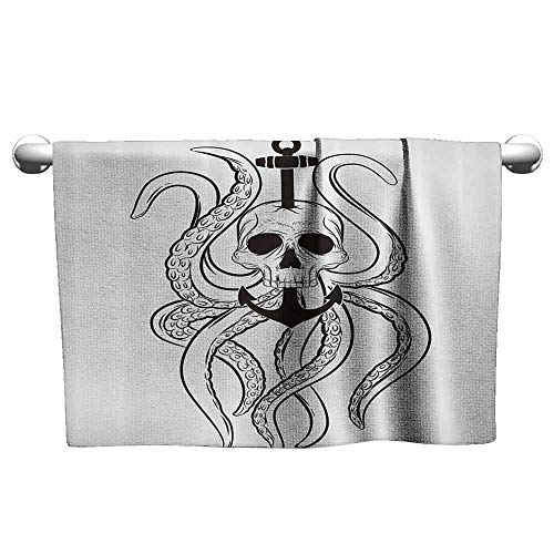 DUCKIL Fancy Hand Towels Nautical Decor Collection Skull Octopus and Anchor Pirate Ocean Classic Tattoo Style Artwork Pattern Bath Sheet 20 x 20 inch Black White
