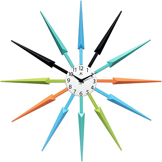 Infinity Instruments Celeste Multi-Color Large Colorful Wall Clock Retro Wall Clock Starburst 24 inch Big Colorful Clock Black