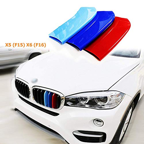 1 set M-Colored Kidney Grille Insert Trim TRI Color M Sport Strips Fit BMW X5 X6 Series Grills F15 F16 (7 Beam Bars)