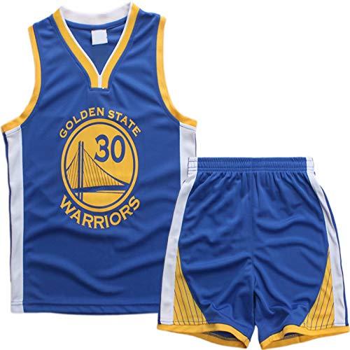 AnAn Lucky Little Boys Basketball Jersey 2-Piece Basketball Tank Top Shorts Set(Blue-M)