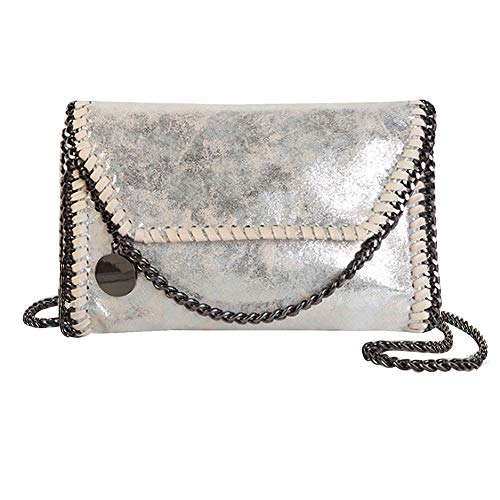 LABANCA Womens Fashion Hobo Handbag Purse Shoulder Bag with Chain Faxu Leather Handbags Purse (B-Silver)