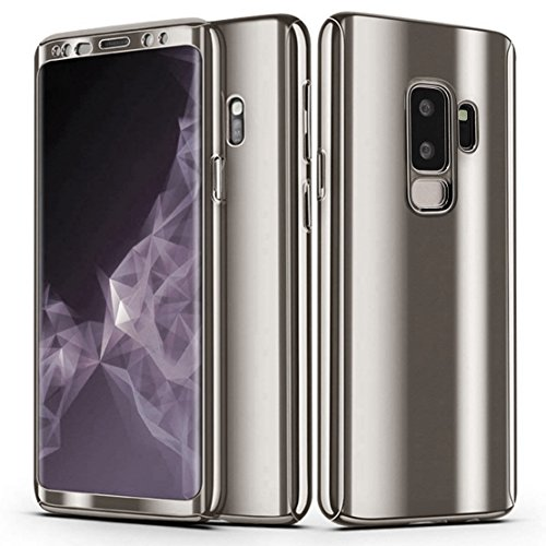 Galaxy S9 Plus Case, Ultra Slim Electroplate 360 Degree Full Body Protection Mirror Case with Tempered Glass Screen Hard PC Protector for Samsung Galaxy S9 Plus (Silver)