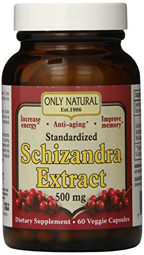 Only Natural Nutritional Veggie Capsules, Schizandra Extract, 500 mg, 60 Count Berry Extract Vegetable Capsules