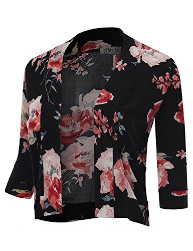 BIADANI Women Classic 3/4 Sleeve Crop Cardian Floral Print 12145 Black (Print 3/4 Sleeve Cardigan)
