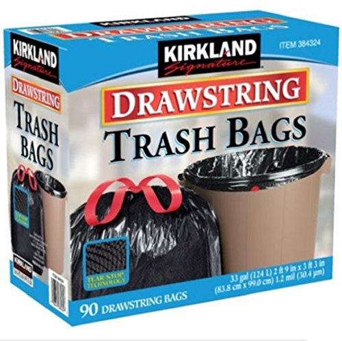 [Kirkland Signature 384324 ,100% recyclable ,Drawstring Trash Bag 90 Count ,33 Gallon ,Black] (Bag Of Trash Costume)